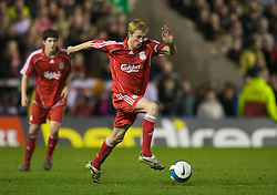 WARRINGTON, ENGLAND - Tuesday, February 26, 2008: Liverpool's Stephen Darby in action against Manchester United during the FA Premiership Reserves League (Northern Division) match at the Halliwell Jones Stadium. (Photo by David Rawcliffe/Propaganda)