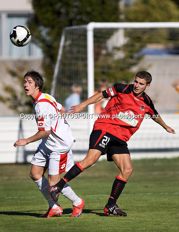 Canterbury United captain Ben Harris and Waitakere's Ryan Elder compete for the ball. Lion Foundation Youth League Final, Canterbury United v Waitakere United, English Park, Christchurch, Sunday 11 April 2010. Photo : Joseph Johnson/PHOTOSPORT