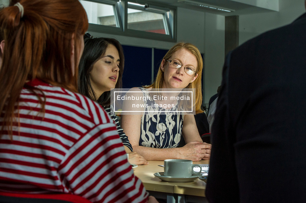 Pictured: Shirley-Anne Somerville<br /> Deputy First Minister and Education Secretary John Swinney visited Edinburgh College today and was joned by Employability Minister Jamie Hepburn and Shirley-Anne Somerville, Minister for Further and Higher Education, to launch the Scottish Government's 15-24 Learner Journey Report.<br /> Ministers met with young people and key stakeholders and heard their views and experiences of the learner journey.<br /> <br /> Ger Harley | Edinburgh Elite Media