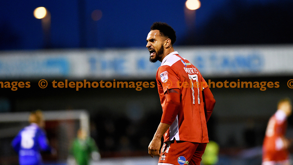 Jordan Roberts of Crawley is upset at a decision during the Sky Bet League 2 match between Crawley Town and Stevenage at the Checkatrade Stadium in Crawley. 30 Dec 2017