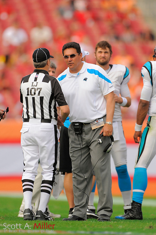Carolina Panthers head coach Ron Rivera during the Panthers game against the Tampa Bay Buccaneers at Raymond James Stadium on Dec. 4, 2011 in Tampa, Fla.  ..©2011 Scott A. Miller