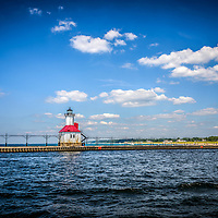 Saint Joseph Lighthouse and pier picture. The St. Joseph Michigan Lighhouse and pier catwalk are a popular attraction. The photo is high resolution and was takne in 2013.