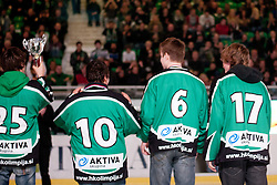Players of HK Olimpija as Slovenian national champions in category U-15 during ice-hockey match between HDD Tilia Olimpija and EHC Liwest Black Wings Linz at fourth match in Semifinal  of EBEL league, on March 13, 2012 at Hala Tivoli, Ljubljana, Slovenia. (Photo By Matic Klansek Velej / Sportida)