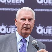 Wilmington Mayor Mike Purzycki addresses the audience during the changing of the guard as live nation takes over The Queen Theater Wednesday, June 14, 2017 on Market Street in downtown Wilmington Delaware.
