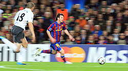 Lionel Messi in action during the UEFA Champions League,Quarter Final, Second Leg Soccer match, FC Barcelona vs Arsenal at Nou Camp in Barcelona, Spain on March 6, 2010. Messi scored four times as Barcelona beat Arsenal 4-1 to reach the Champions League semifinals for the third straight year.