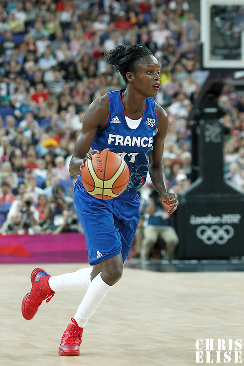 11 August 2012: France Emilie Emilie Gomis brings the ball upcourt during 86-50 Team USA victory over Team France, during the Women's Gold Medal Game, at the North Greenwich Arena, in London, Great Britain.