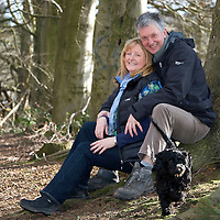 Patrick O'Shaughnassy from Scone near Perth who is to take part in the Maggies Monster Bike & Hike Challenge to raise money for the charity that has helped his wife Karen who has secondary breast cancer, also pictured dog Ollie....24.02.12<br /> Picture by Graeme Hart.<br /> Copyright Perthshire Picture Agency<br /> Tel: 01738 623350  Mobile: 07990 594431