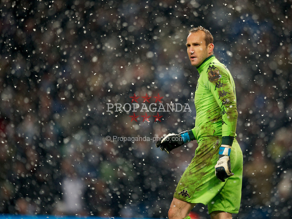 LONDON, ENGLAND - Sunday, February 04, 2012: Fulham's Mark Schwarzer looks on during the Premiership match at the Etihad Stadium. (Pic by Chris Brunskill/Propaganda)
