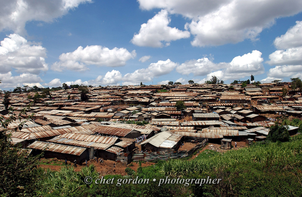The Kibera slum of Nairobi, Kenya in November 2002. Upwards of 200,000 people live among the rooftops of corrugated tin and adobe-mud walled structures in the East African country's capital city.