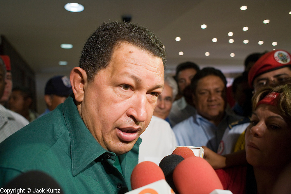 12 JANUARY 2007 - MANAGUA, NICARAGUA: HUGO CHAVEZ, President of Venezuela, talks to reporters in Managua before Chavez left Nicaragua to return to Venezuela. Chavez has promised massive amounts of aid  for Nicaragua including free and discounted oil and portable electric generating stations. Nicaragua is the second poorest country in the western hemisphere.  PHOTO BY JACK KURTZ