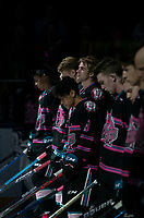 KELOWNA, BC - SEPTEMBER 21:  Trevor Wong #8 of the Kelowna Rockets stands in line with teammates during home opening ceremonies against the Spokane Chiefs at Prospera Place on September 21, 2019 in Kelowna, Canada. (Photo by Marissa Baecker/Shoot the Breeze)