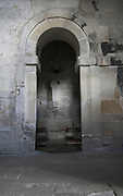 Saxon church interior stone arch and altar, Saint Laurence, Bradford on Avon, Wiltshire, England