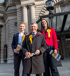 Pictured: Edinburgh North & Leith candidate, Bruce Wilson, Scottish Lib Dem Leader Willie Rennie and the candidate for Edinburgh East, Jill Reilly<br />