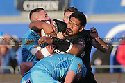 Saracens lock Will Skelton (5) resisting a challenge for possession during the Premiership Rugby Cup match between Saracens and Worcester Warriors at Allianz Park, Hendon, United Kingdom on 11 November 2018.