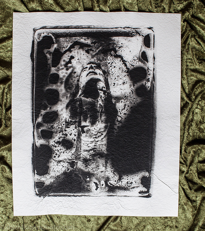 """Printed on Cotton Fiber. one of three images available, one framed) Distressed directly to negative 16x20"""" $350"""