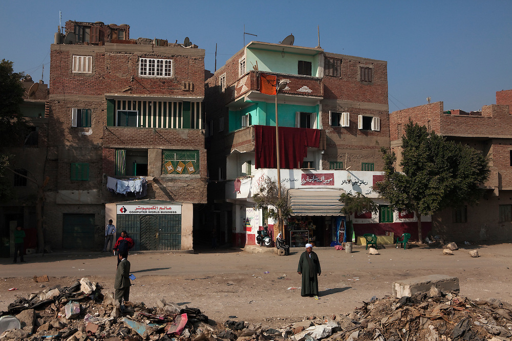 A zone designated for building rubble has slowluy become a garbage dump to the residents dismay. They would liek the local government to either stop people dumping garbage in their community or start picking it up regularily. .Cairo, Egypt.
