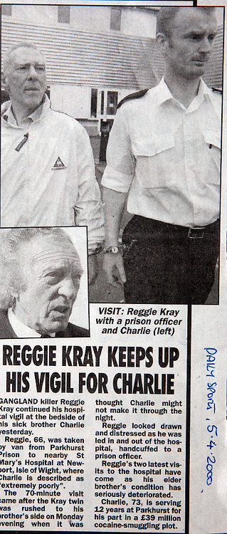 Reggie Kray visits dying brother Charlie in St Mary's Hospital from Parkhurst Prison. Isle of Wight. England.