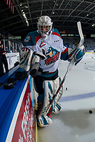 KELOWNA, CANADA - FEBRUARY 2: Roman Basran #30 of the Kelowna Rockets clears the pucks from the boards for warm up against the Kamloops Blazers  on February 2, 2019 at Prospera Place in Kelowna, British Columbia, Canada.  (Photo by Marissa Baecker/Shoot the Breeze)