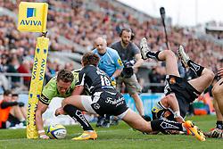 - Photo mandatory by-line: Rogan Thomson/JMP - 07966 386802 - 11/04/2015 - SPORT - RUGBY UNION - Exeter, England - Sandy Park Stadium - Exeter Chiefs v Northampton Saints - Aviva Premiership.