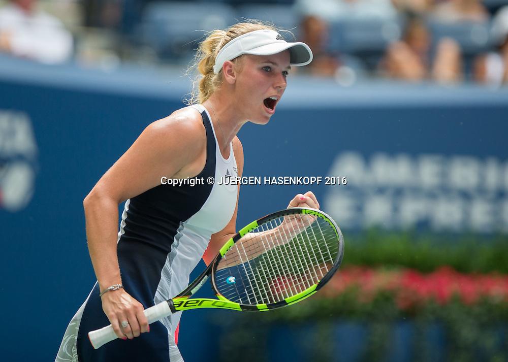 CAROLINE WOZNIACKI (DEN) macht die Faust und jubelt,Jubel,Emotion,<br /> <br /> <br /> Tennis - US Open 2016 - Grand Slam ITF / ATP / WTA -  USTA Billie Jean King National Tennis Center - New York - New York - USA  - 31 August 2016.