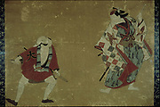 Two Actors in a Play, 1700-1705. Ink and colours, Torii School.