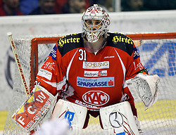 """13.03.2012, Stadthalle, Klagenfurt, AUT, EBEL, EC KAC vs KHL Medvescak Zagreb, Playoff, Halbfinale, 4. Spiel, im Bild Andy Chiodo (KAC),  during the semifinal Match of """"Erste Bank Icehockey League"""", fourth play between EC KAC and KHL Medvescak Zagreb at Stadthalle, Klagenfurt, Austria on 2012/03/13. EXPA Pictures © 2012, PhotoCredit: EXPA/ Oskar Hoeher."""