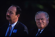 Joe Flanagan and LPGA commissioner Jim Webb<br /> The inaugural Solheim Cup competition took place in Orlando, Florida, United States at Lake Nona Golf &amp; Country Club from November 16 to November 18, 1990. The United States team beat the European team 11&frac12; points to 4&frac12;.<br /> <br /> <br /> Picture Credit:  Mark Newcombe / www.visionsingolf.com