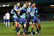 The Wycombe Wanderers players celebrate Wycombe Wanderers defender Anthony Stewart (5) goal 1-0 during the The FA Cup match between Wycombe Wanderers and Tranmere Rovers at Adams Park, High Wycombe, England on 20 November 2019.