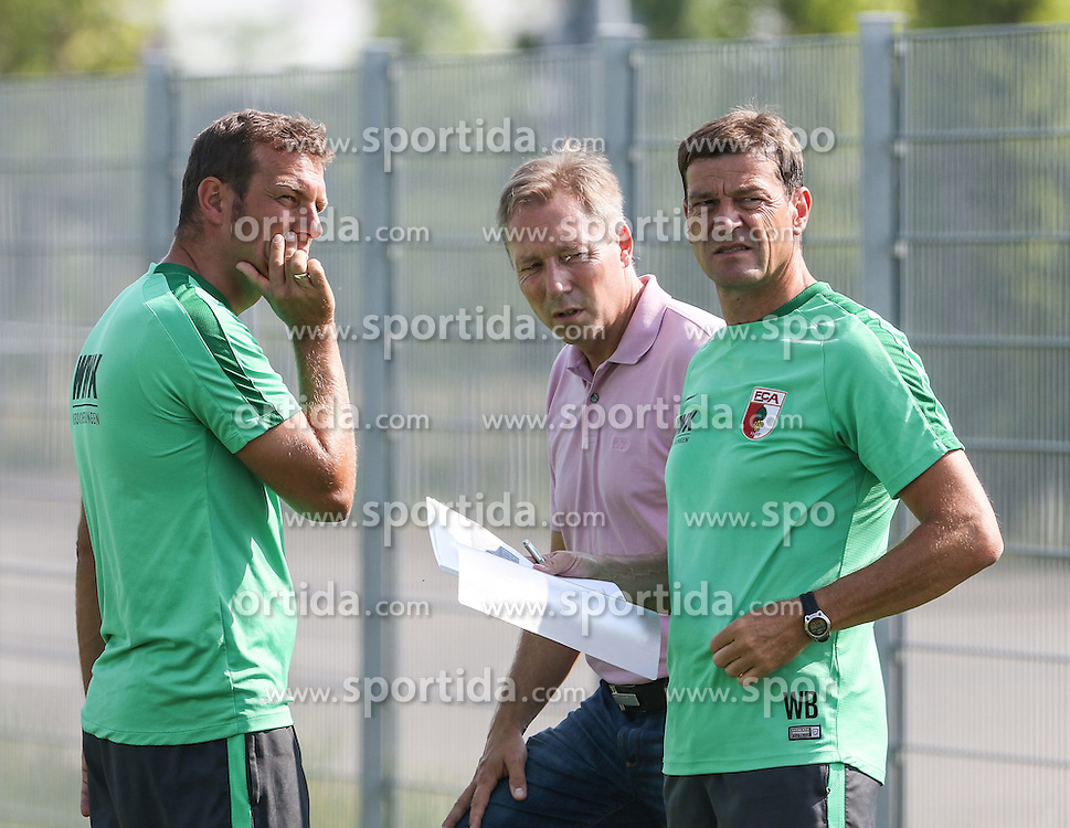 07.07.2015, Trainingsplatz, Augsburg, GER, 1. FBL, FC Augsburg, Training, im Bild nachdenkliche Gesicher bei (v.li.) Markus Weinzierl (Trainer FC Augsburg), Stephan Schwarz (FCA-scouting) und Wolfgang Beller (Co-Trainer FC Augsburg), // during a Traings Session of German Bundesliga Club FC Augsburg at the Trainingsplatz in Augsburg, Germany on 2015/07/07. EXPA Pictures &copy; 2015, PhotoCredit: EXPA/ Eibner-Pressefoto/ Krieger<br /> <br /> *****ATTENTION - OUT of GER*****