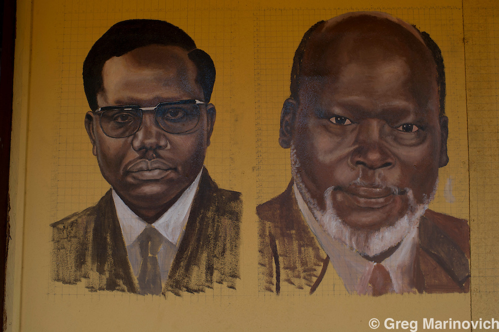 Juba, South Sudan. July 2011. Mural of late Southern Sudanese leaders, at local bar, On July 9, 2011, South Sudan became the 54th African state and the first to break with colonial era boundries as it gained it independence from Sudan, dominated by the Muslim north, following a thirty year war. South Sudan is predominantly Christian, and has access to vast oil wealth, yet the war and continued small scale conflicts keep the vast majority living in poverty and hunger. Photo Greg Marinovich / Storytaxi.com