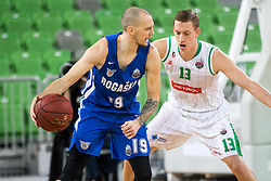 Miha Vasl of Rogaska vs Miha Lapornik of Petrol Olimpija during 2nd leg basketball match between KK Petrol Olimpija and KK Rogaska in quarter final of  Pokal SPAR 2018/19, on January 14, 2019 in Arena Stozice, Ljubljana, Slovenia. Photo by Matic Ritonja / Sportida
