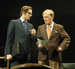 This House by James Graham, directed by Jeremy Herrin, designed by Rae Smith, at The Olivier Theatre, NT, Southbank, London, Great Britain, 28th February 2013. .Ed Hughes as Fred Silvester.Gunnar Cauthery as Redditch. Photo by Elliott Franks / i-Images.