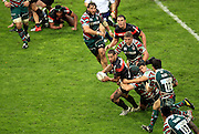 Luke McAlister attacks for  Toulouse during the Heineken Cup match between Stade Toulouse and Leicester Tigers at Stade Municipal on October 14, 2012 in Toulouse, France.  Eoin Mundow/Cleva Media