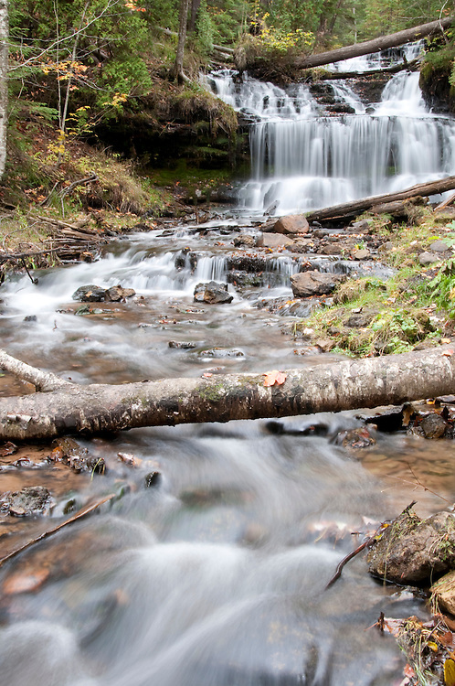 Wagner Falls at Wagner Falls State Scenic Site near Munising Michigan in autumn.