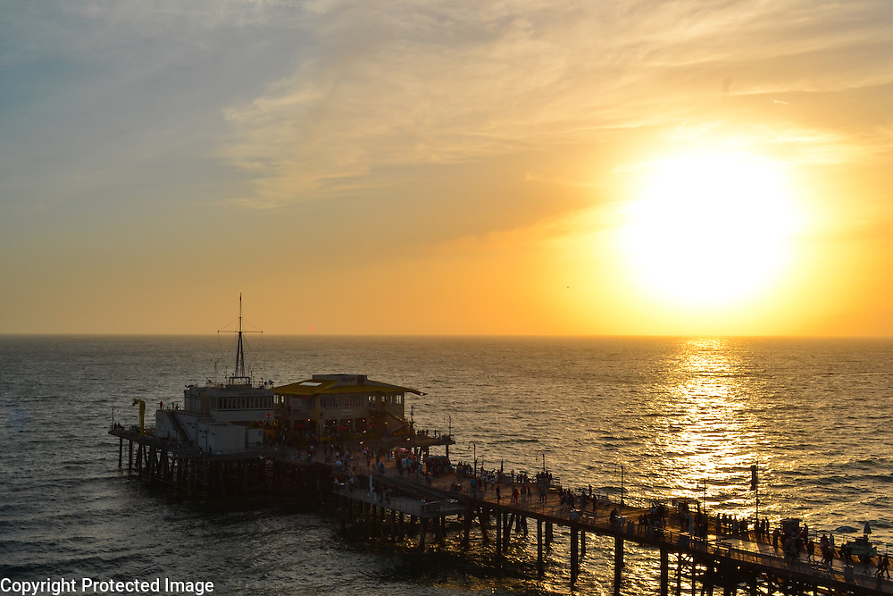 Santa Monica Pier at sunset, a birds eye view from the ferris wheel