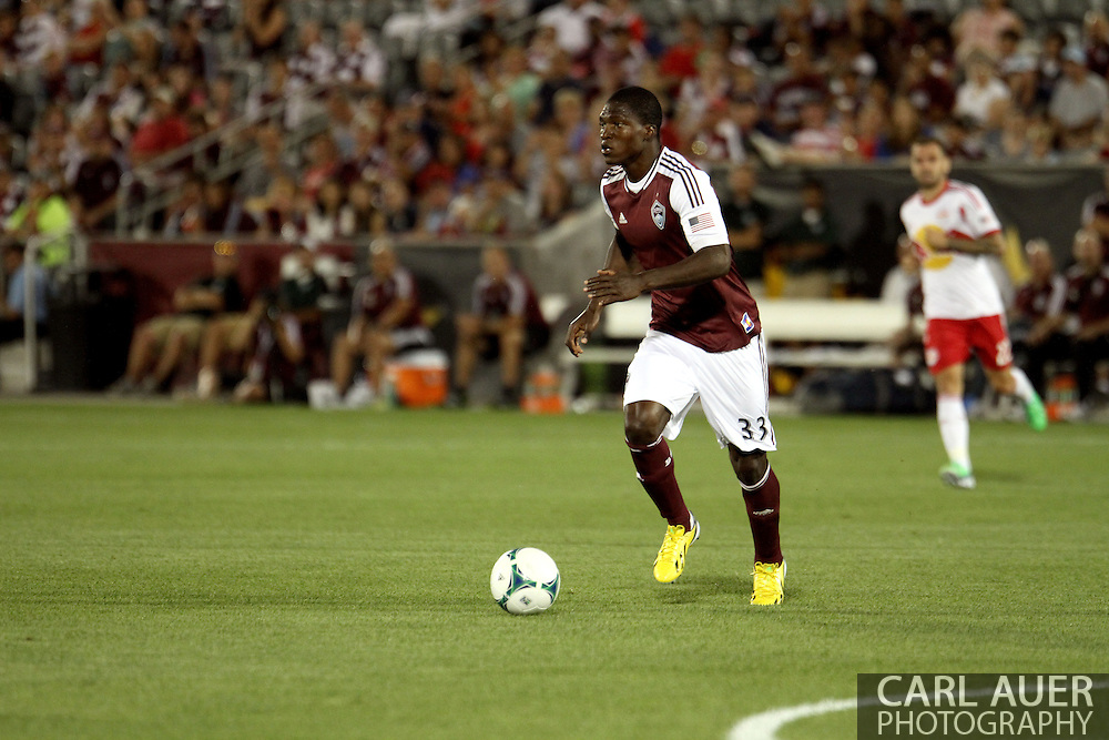 July 4th, 2013 - Colorado Rapids defender German Mera (33) controls the ball in the second half of action in the Major League Soccer match between New York Red Bulls and the Colorado Rapids at Dick's Sporting Goods Park in Commerce City, CO