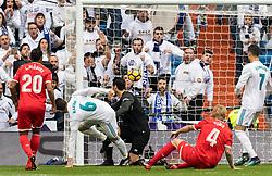Jose Ignacio Fernandez Iglesias ( Nacho ) of Real Madrid scores during the La Liga Santander match between Real Madrid CF and Sevilla FC on December 09, 2017 at the Santiago Bernabeu stadium in Madrid, Spain.