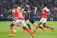 Javier Pastore / Prince Oniangue / Antoine Conte / Benjamin Moukandjo Bile  - 23.05.2015 - PSG / Reims - 38eme journee de Ligue 1<br />Photo : Andre Ferreira / Icon Sport