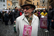 A man participates to a demonstration called to urge the government to approve a law on the citizenship right for foreigners living in Italy.<br /> Rome 28 Febraury 2017. Christian Mantuano / OneShot