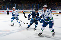 PENTICTON, CANADA - SEPTEMBER 8: JJohah Gadjovic #43 of Vancouver Canucks skates against the Winnipeg Jets on September 8, 2017 at the South Okanagan Event Centre in Penticton, British Columbia, Canada.  (Photo by Marissa Baecker/Shoot the Breeze)  *** Local Caption ***