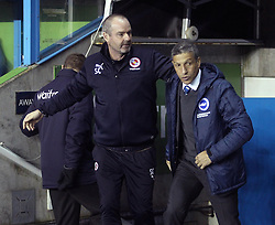 Reading Manager, Steve Clarke and Brighton and Hove Albion Manager, Chris Hughton - Photo mandatory by-line: Robbie Stephenson/JMP - Mobile: 07966 386802 - 10/03/2015 - SPORT - Football - Reading - Madejski Stadium - Reading v Brighton - Sky Bet Championship