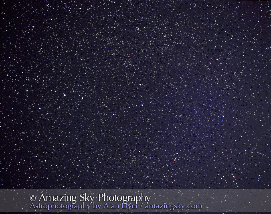 Ursa Major and Big Dipper, April 2004.<br /> <br /> Taken with 55mm lens at f/5 on Pentax 6x7 camera with Fujichrome 400F slide film, 120-format, and 25 minute exposure. <br /> <br /> Glow layer added to fuzz bright stars.