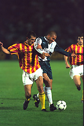 VLADIKAVKAZ, RUSSIA - Tuesday, September 12, 1995: Liverpool's Stan Collymore in action against FC Alania Spartak Vladikavkaz during the UEFA Cup 1st Round 1st Leg match at Republican Spartak Stadium. (Photo by David Rawcliffe/Propaganda)