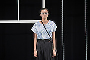 OCTOBER 20: A model showcases designs on the runway during the Bedsidedrama show as a part of the Amazon Fashion Week Tokyo's 2017 Spring/Summer at Shibuya Hikarie on october 20, 2016 in Tokyo, Japan. 20/10/2016-Tokyo, JAPAN