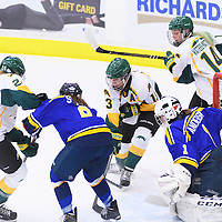 5th year forward Kylie Gavelin (13) of the Regina Cougars in action during the Women's Hockey Home Game on October 14 at Co-operators arena. Credit: Arthur Ward/Arthur Images