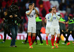 England's John Stones and England's Jamie Vardy clap the home fans at full time. - Mandatory by-line: Alex James/JMP - 26/03/2017 - FOOTBALL - Wembley Stadium - London, England - England  v Lithuania - World Cup Qualifiers Group stage
