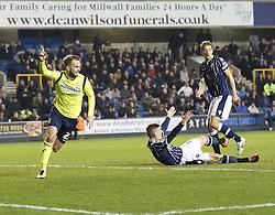 Birmingham City's Andrew Shinnie celebrates scoring his sides second goal - Photo mandatory by-line: Robin White/JMP - Tel: Mobile: 07966 386802 15/03/2014 - SPORT - FOOTBALL - The Den - Millwall - Millwall v Birmingham City - Sky Bet Championship