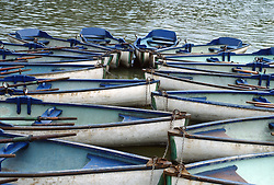 Rowboats tied up in France