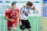 Håndball , Eliteserien Menn ,<br /> 07.02.18 , 20180207<br /> Haslum - Halden <br /> Thomas Solstad - Halden <br /> Sander A. Øverjordet - Haslum <br /> Foto: Sjur Stølen / Digitalsport