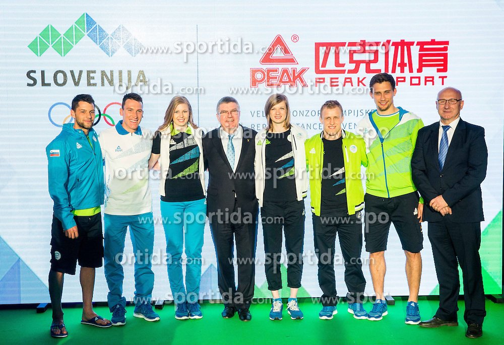 Saso Taljat, Luka Bozic, Maja Mihalinec, Thomas Bach, IOC president, Tina Sutej, Rok Draksic, Darko Cingesar  and Bogdan Gabrovec, OKS president during official presentation of the Designer wear for Slovenian Athletes at Rio Summer Olympic Games 2016, on April 15, 2016 in Hotel Lev, Ljubljana, Slovenia. Photo by Vid Ponikvar / Sportida
